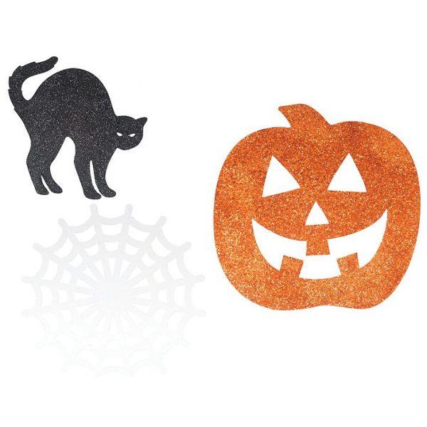 Halloween Glitzer Auschnitte - Schwarze Katze, Spinnwebe, Kürbis-0