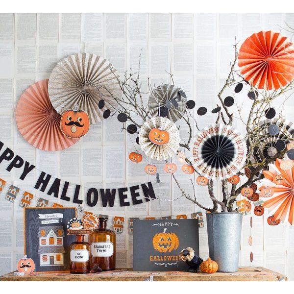 8 Halloween Deluxe Party Fans Set-0