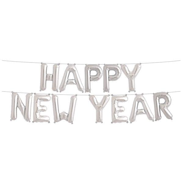 Happy New Year Ballon-Banner Silvester Neu Jahr Party-0