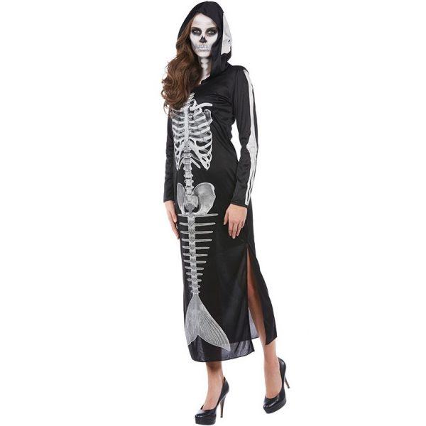 Meerjungfrau Skelett Kapuzenkleid Halloween Kostüm Gr. 46 -5074