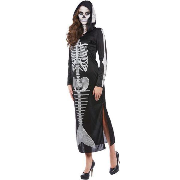 Meerjungfrau Skelett Kapuzenkleid Halloween Kostüm Gr. 46 -0