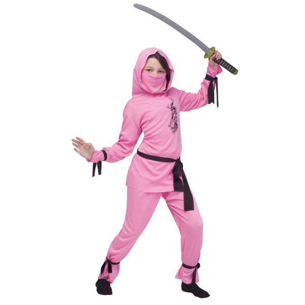 Pink Ninja Kostüm für Kinder Gr L 10-12 Jahre-0