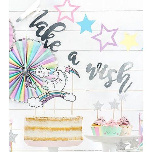 Make a Wish Banner Silberfolie Girlande-0