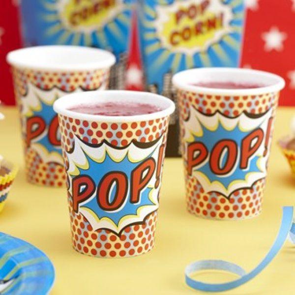 8 Pappbecher Pop-Art Superhero Party-0