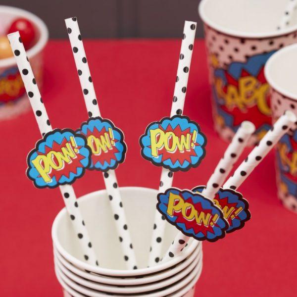 20 Strohhalme Pop-Art Superhero Party-0