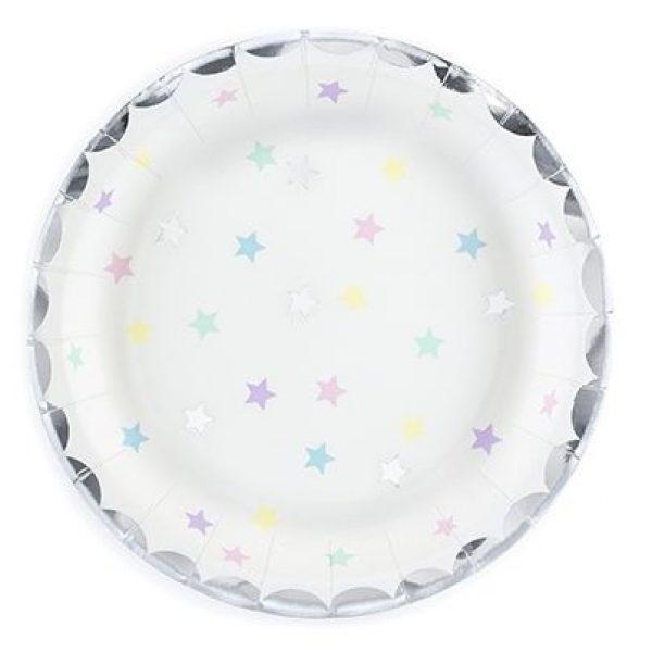 6 Make a Wish Party Pappteller Klein mit Silberfolie & Sternen -0