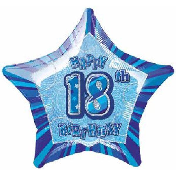 18. Geburtstag Blau Glitz Folienballon 50 cm-0