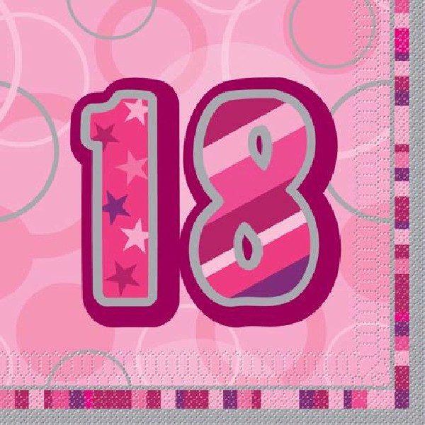 16 Pink Glitz 18. Geburtstag Servietten-0