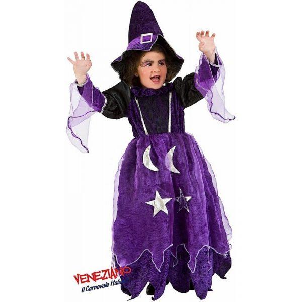 Lila Sterne & Mond Hexe Kostüm Kind 5 Jahre mit Hut-0
