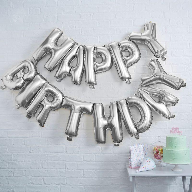 """Happy Birthday"" Buchstaben Ballon-Girlande Silber -0"