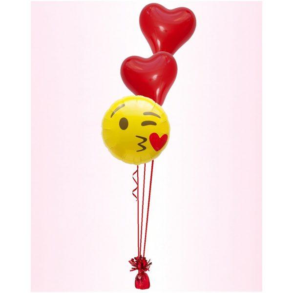 Emoji Fliegene Küsse Ballonstrauss-5545