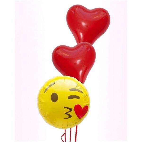 Emoji Fliegene Küsse Ballonstrauss-0