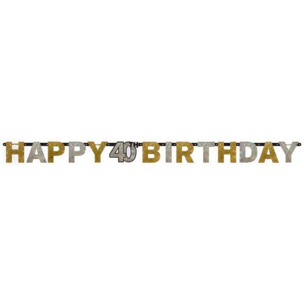Happy 40 Birthday Sparkling Celebrations Girlande 210 cm-0