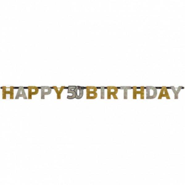 Happy 50 Birthday Sparkling Celebrations Girlande 210 cm-0