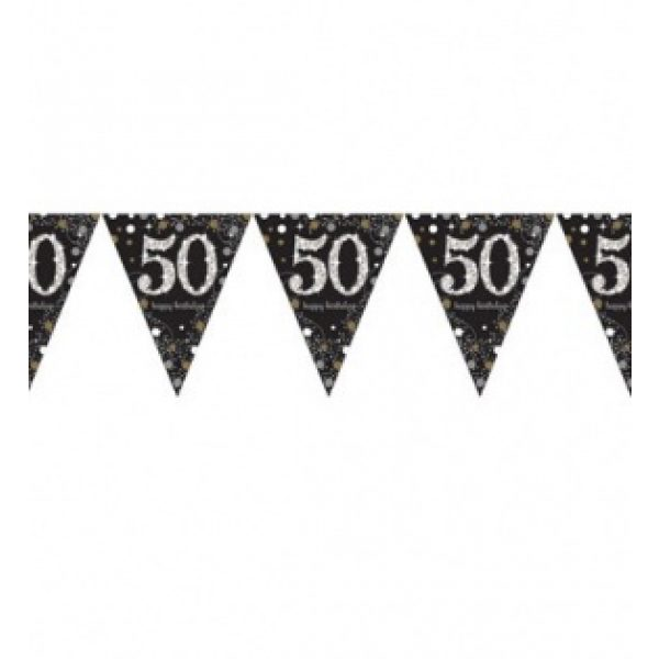 50. Geburtstag Wimpelkette Sparkling Celebration 390 cm-0