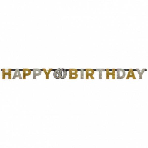 Happy 60 Birthday Sparkling Celebrations Girlande 210 cm-0