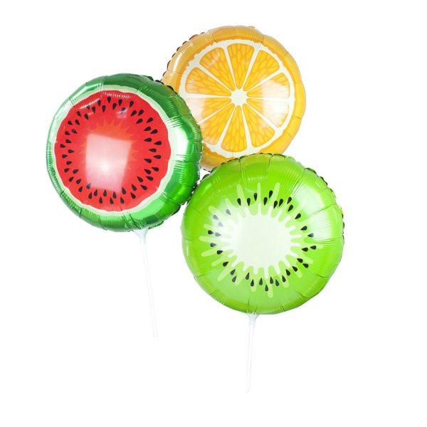 3 Fruchtige Folienballone Wassermelone Kiwi Orange Luftbefüllung-5831