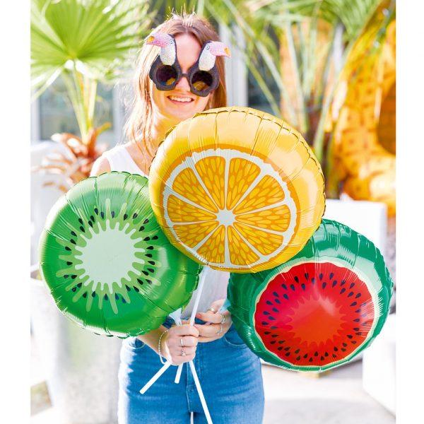 3 Fruchtige Folienballone Wassermelone Kiwi Orange Luftbefüllung-0