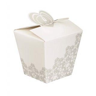 4 Herz Geschenkschachtel Silber Weiss Hochzeit Box-0