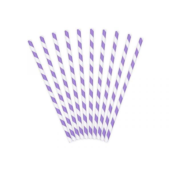 10 Lila gestreift Papier Strohhalme-0