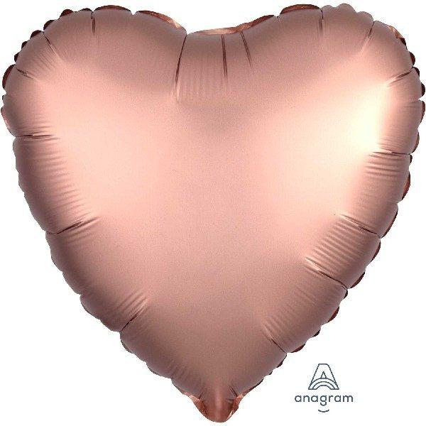 Herz Satin Luxe Folienballon Rose Gold 45 cm-0