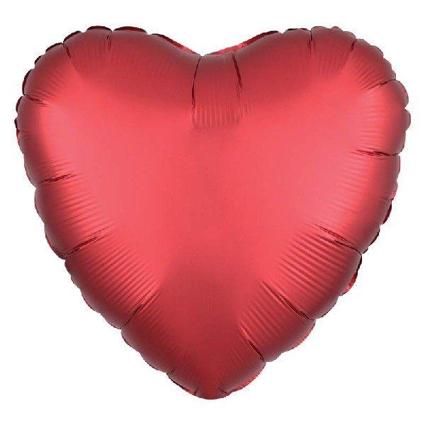 Herz Satin Luxe Folienballon Rot 45 cm-0