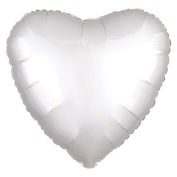 Herz Satin Luxe Folienballon Weiss 45 cm-0