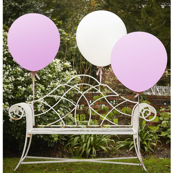 3 Riesige Rosa Weiss Luftballons 90 cm XXL-0