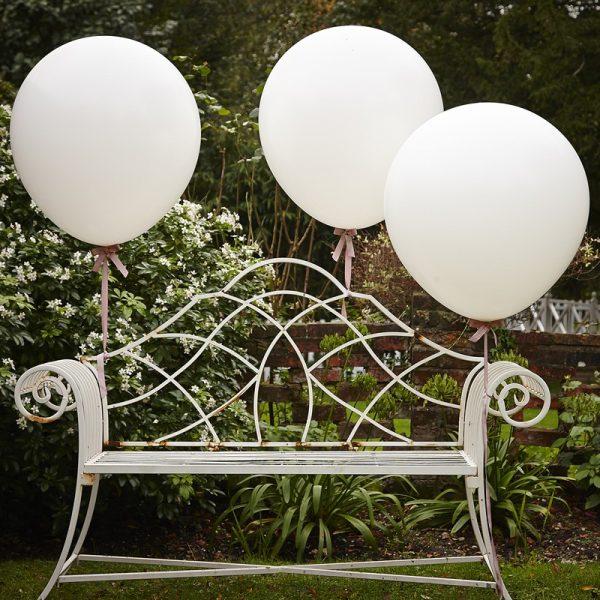 3 Riesige Weisse Luftballons 90 cm XXL-0
