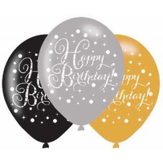 6 Happy Birthday Sparkling Celebrations Luftballons 28 cm-0