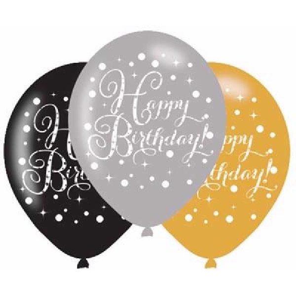 6 Happy Birthday Sparkling Celebrations Luftballons 28 cm-0