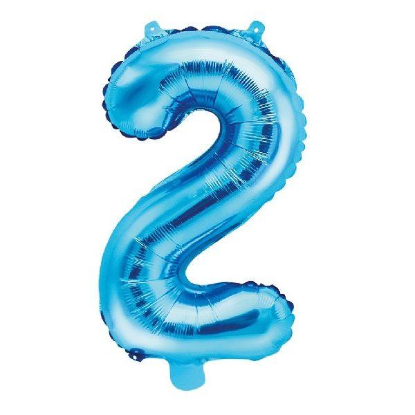 Zahl 2 Blau Luftballon 35 cm-0