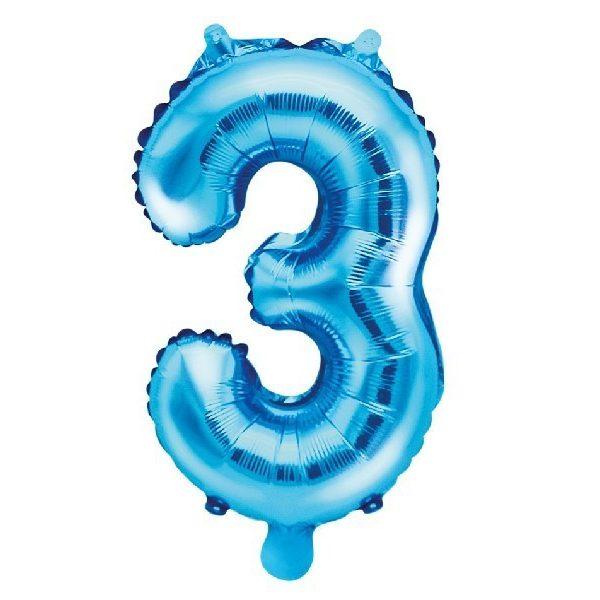 Zahl 3 Blau Luftballon 35 cm-0