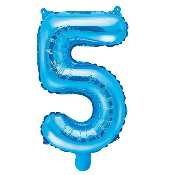 Zahl 5 Blau Luftballon 35 cm-0