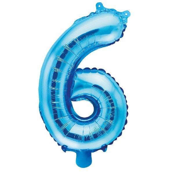 Zahl 6 Blau Luftballon 35 cm-0
