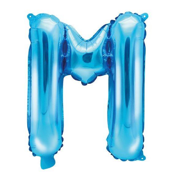 Buchstabe M Blau Luftballon 35 cm-0