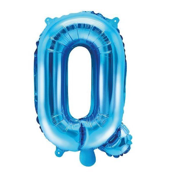 Buchstabe Q Blau Luftballon 35 cm-0