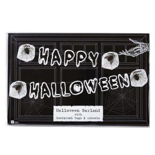 Happy Halloween Girlande mit Wabendeko -0