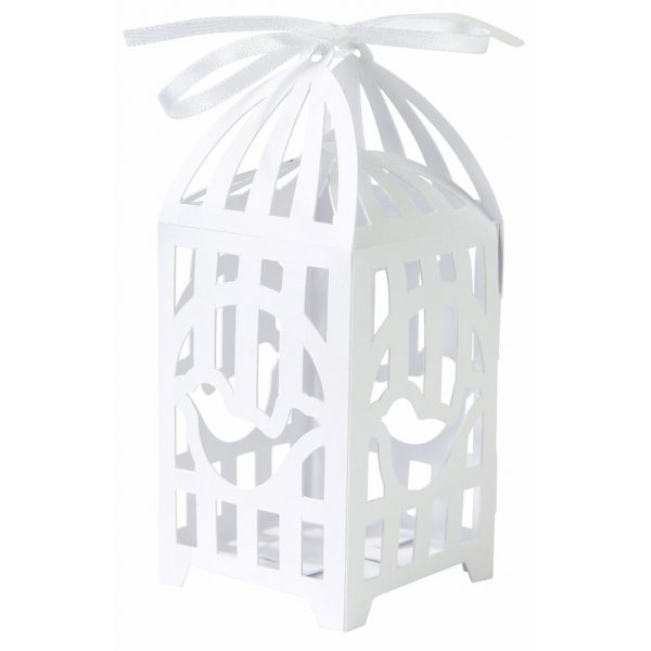 10 Vogelkäfig Geschenkschachtel Weiss Hochzeit Box-0