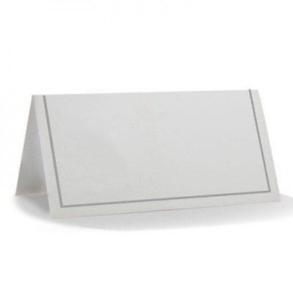 50 Weisse Tischkarten mit silbernem Rand-0