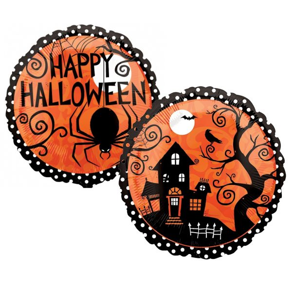 Happy Halloween Orange Haunted House Folienballon 45 cm-0