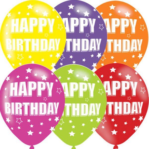 6 Happy Birthday Bunte Luftballons 28 cm-0
