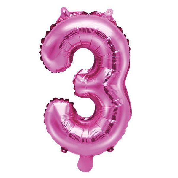 Zahl 3 Pink Luftballon 35 cm-0