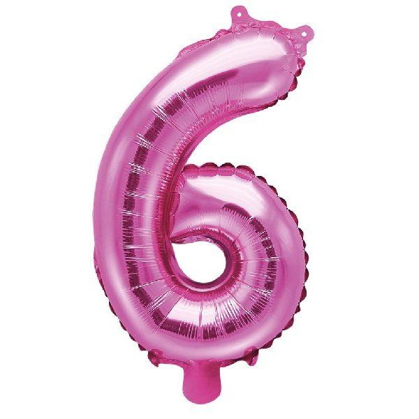Zahl 6 Pink Luftballon 35 cm-0