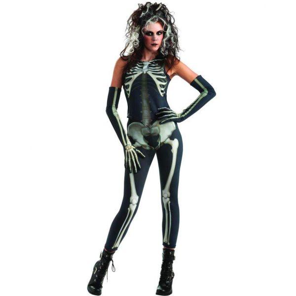 Skelett Dame Hosen, Top & Handschuhe Large -0