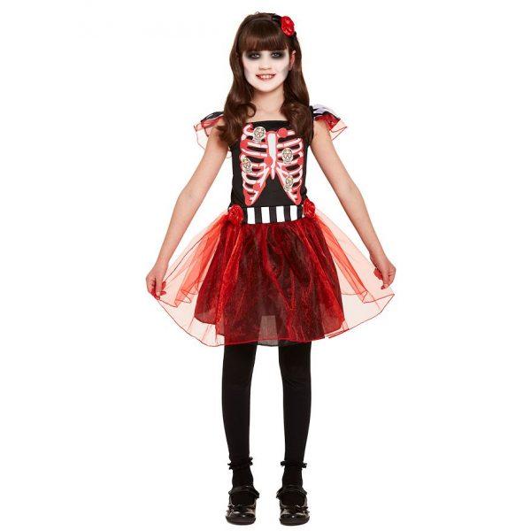 Skelett Kleid Kostüm Gr. M für Kinder 7-8 Jahre-0