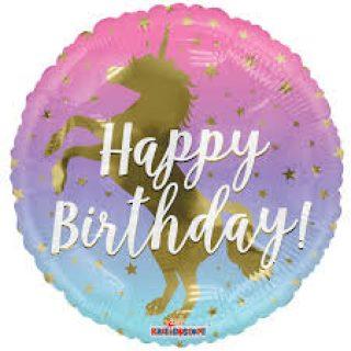 Ombre Happy Birthday Einhorn Folienballon 45 cm-0