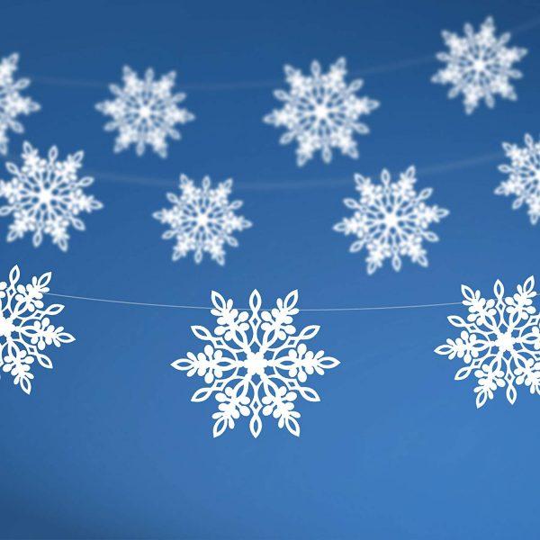 Schneeflocken Girlande 138 cm-0
