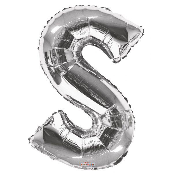 S Buchstabe Silber Folienballon 87 cm-0