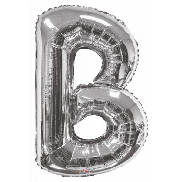 B Buchstabe Silber Folienballon 87 cm-0
